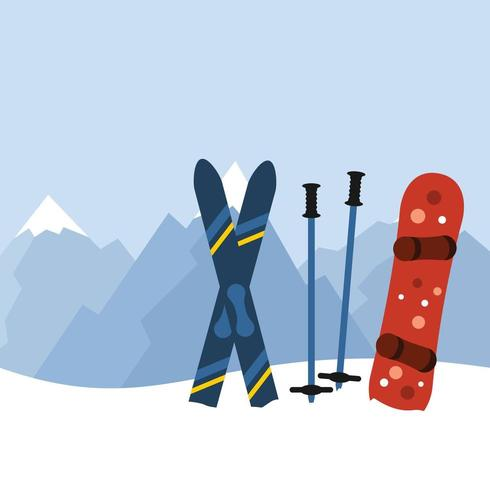 skiing and snowboarding equipment in mountains vector